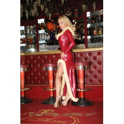 Latex Dress in Red with High Leg Slit and Ruffled Hem Side View