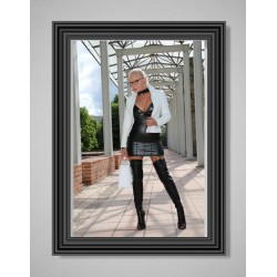 Lady Vanessa in Black Leatherdress and Overknees